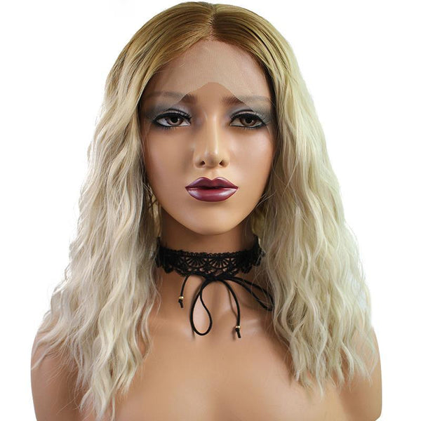 Smart Wigs Melbourne AU offers Dark Root Natural Blonde Body Wavy Lace Front Wig