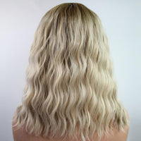 2020 New Dark Root Natural Blonde Body Wavy Lace Front Wig