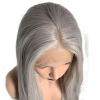 Silver Grey Natural Straight Lace Front Wig - Smart Wigs VIC