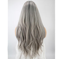 Dark Roots Silver Grey Natural Wavy Lace Front Wig - Smart Wigs Australia