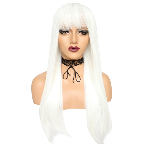 Natural white long straight silk wig by Shiny Way Wigs Adelaide