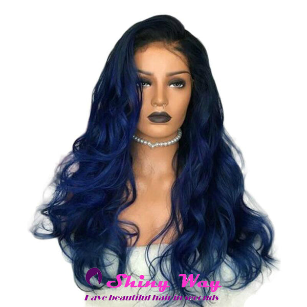 Black blue long curly Lace Front Wig - Shiny Way Wigs Melbourne VIC