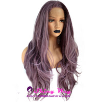 Natural Purple Long Curly Lace Front Wig - Shiny Way Wigs Perth