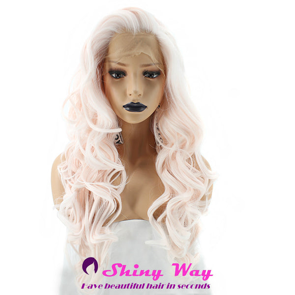 White pink long curly Lace Front Wig - Shiny Way Wigs Sydney NSW