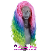 Multi color long curly Lace Front Wig - Shiny Way Wigs Melbourne VIC