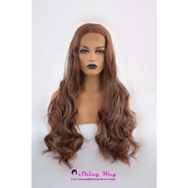 Natural Brown Long Curly Lace Wigs - Shiny Way Wigs Melbourne VIC