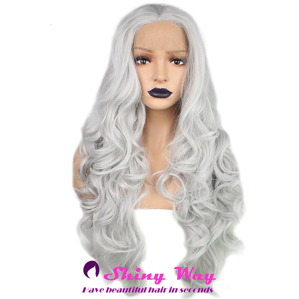 Silver white long curly Lace Front Wig - Shiny Way Wigs Melbourne VIC