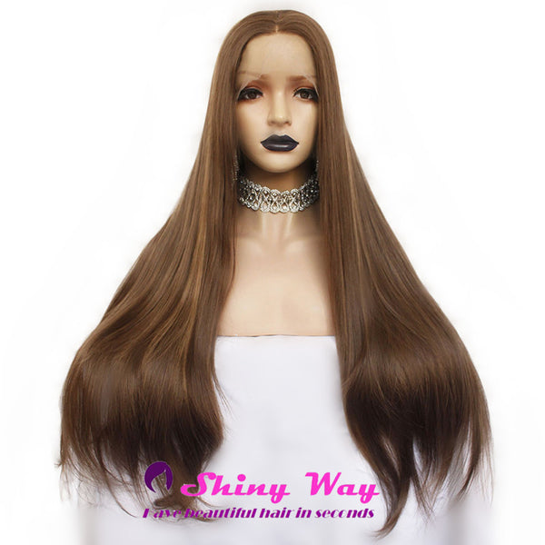 Natural Brown Long Straight Lace Front Wig - Shiny Way Wigs Perth