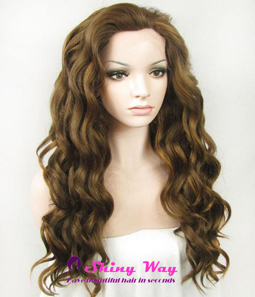 Natural Brown Long Curly Lace Front Wig - Shiny Way Wigs Perth