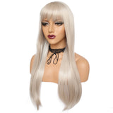 Silver white long silk straight wig by Shiny Way Wigs Sydney