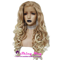 Natural Honey Blonde Long Curly Lace Front Wig - Shiny Way Wigs Sydney