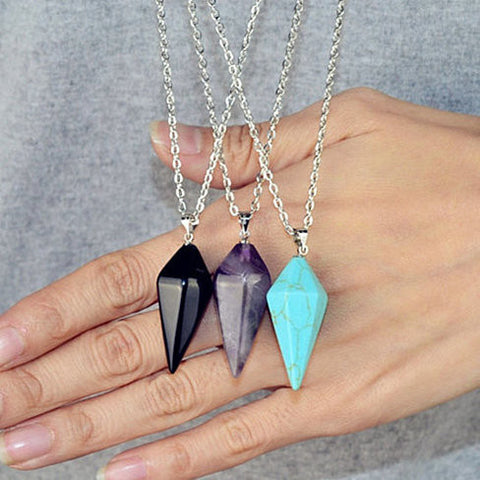 Amethyst/Agate/Turquoise on Long Chain