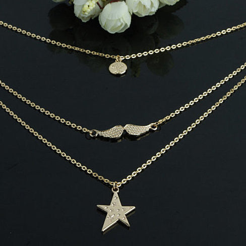 Star + Angel Wings + Tree Of Life Layered Necklace