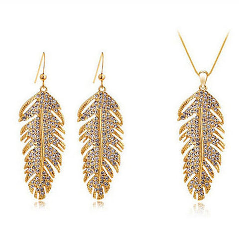 Crystal Feather Set - Necklace & Earrings
