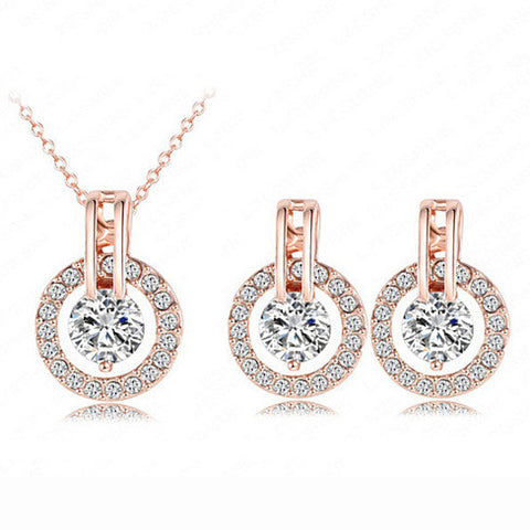Diamond Halo Set Of Earrings And Necklace