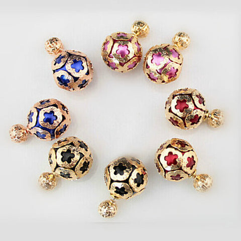 "Double Sided ""Fancy Ball"" Stud Earrings"
