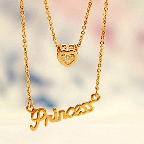 Heart + Princess double chain necklace