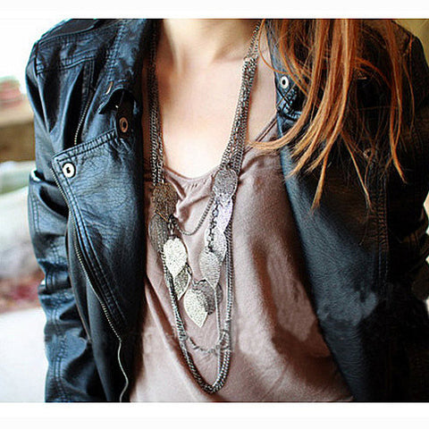 Long Multi-Layered Leaf Chain Necklace