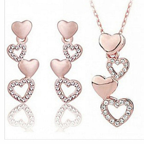 4 hearts fashion jewelry set