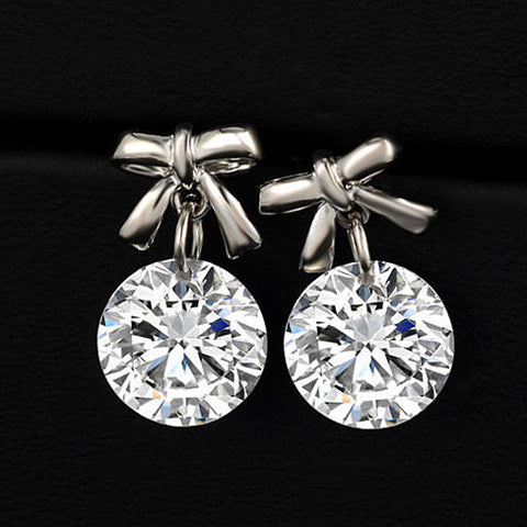 Little Bow & Crystal Diamond Earrings
