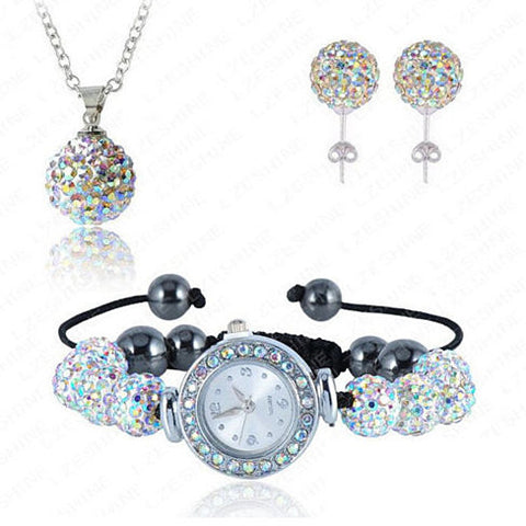 Sparkly Watch + Earrings + Necklace Set