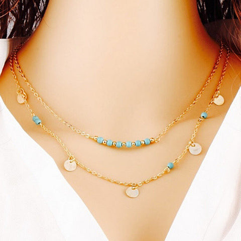 2-layer Coin Charm Necklace