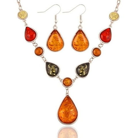 Amber Tear Drop Earrings and Necklace Set