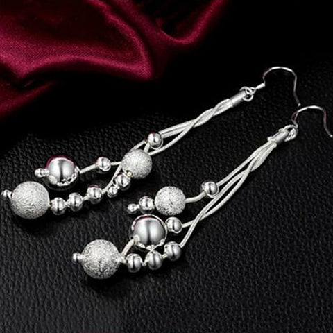 Silver Balls long earrings