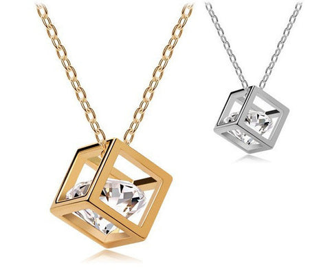 Caged Crystal Pendant - 18K Gold Plated