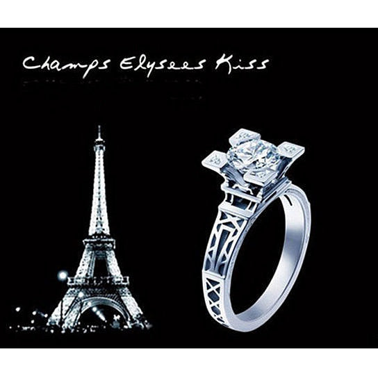 Eiffel Tower simulated diamond ring