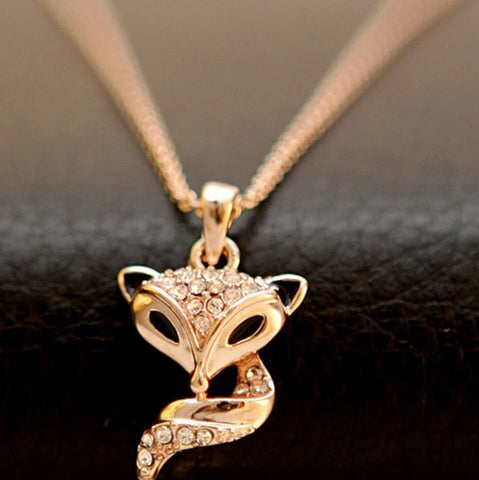 18k Yellow or Rose Gold Plated Fox Austrian Crystal Necklace Pendant