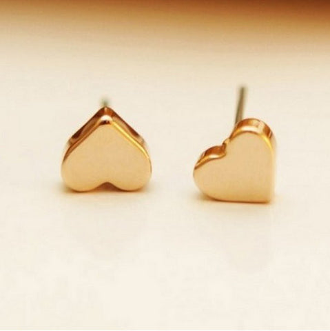 18K rose gold plated heart shaped stud earrings