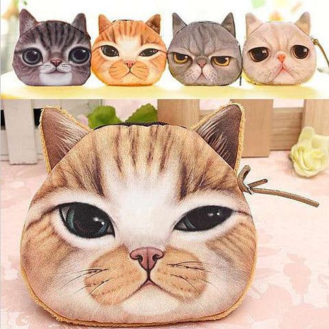 Soft Kitty Face Coin Purse