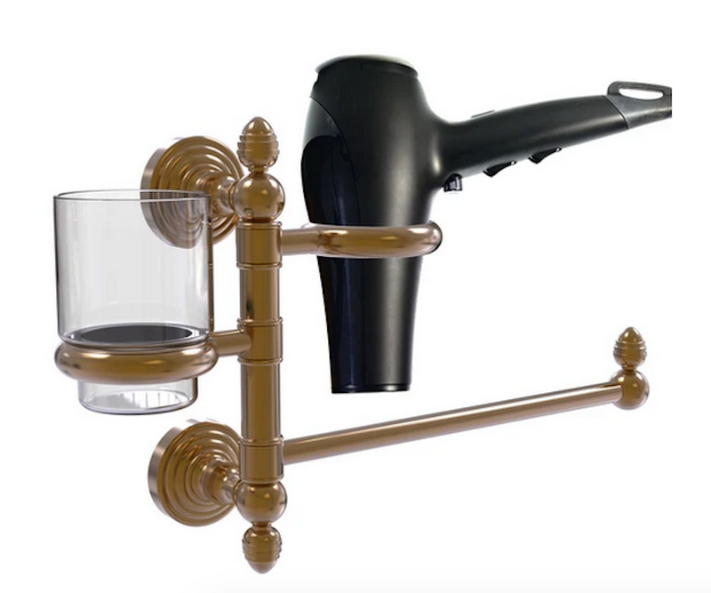 Bathroom organizer holds hair dryer and tumbler, with swivel arm