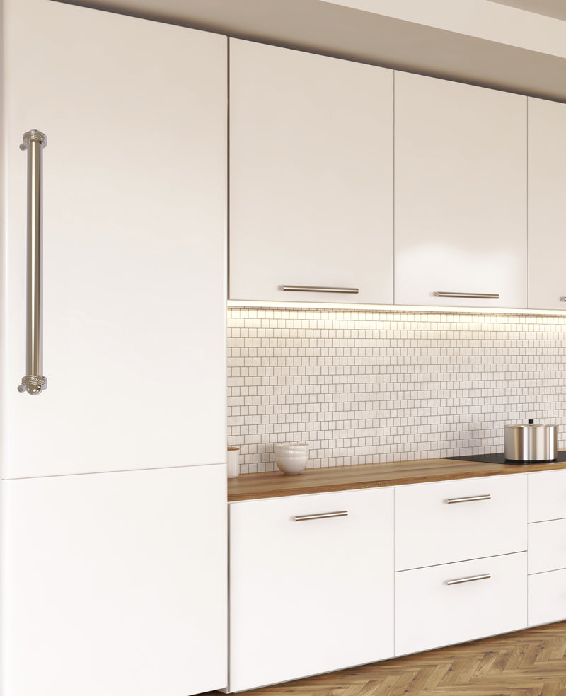 White kitchen cabinets with long door pulls.