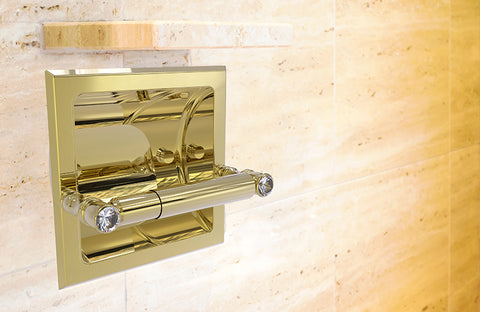 Recessed brass toilet paper holder bright finish with inlay