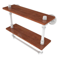 Double wood shelf with towel bar pipe construction