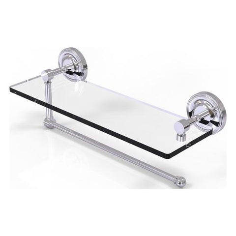 Glass shelf with paper towel holder