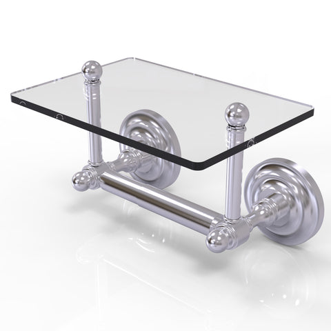 Two post toilet paper holder with glass shelf