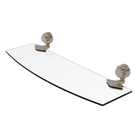 Curved glass shelf pewter finish