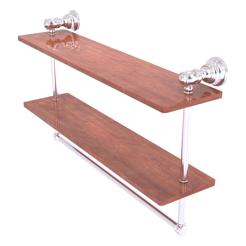 Carolina Collection 16 Inch Double Wood Shelf with Towel Bar