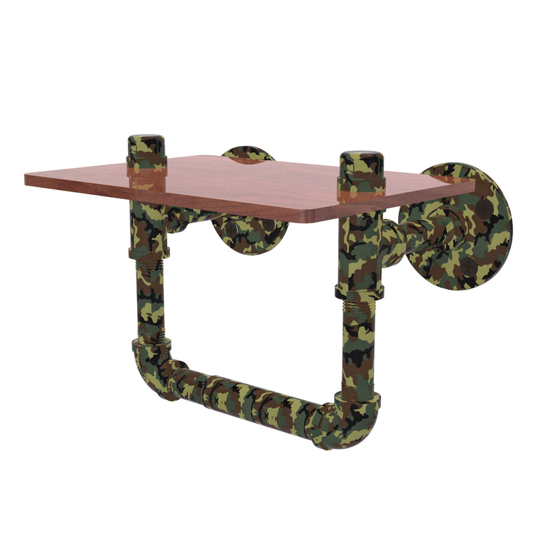 Camo Collection Toilet Paper Holder with Wood Shelf