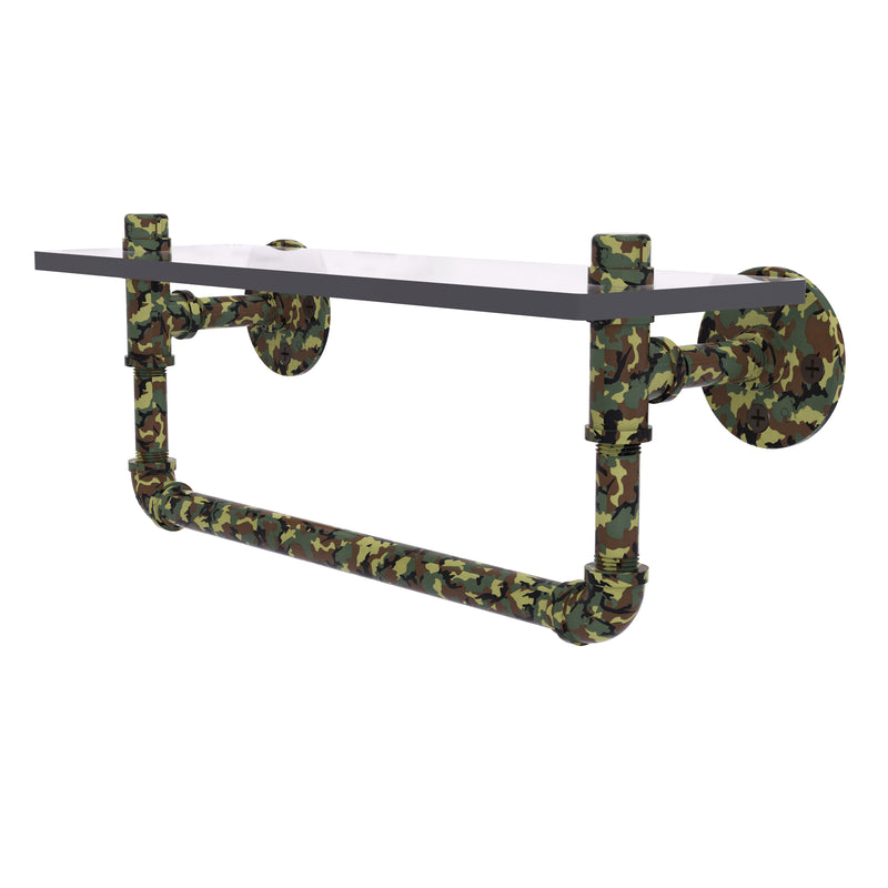 Camo Collection Glass Shelf with Towel Bar