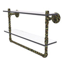 Camo Collection 16 Inch Double Glass Shelf with Towel Bar