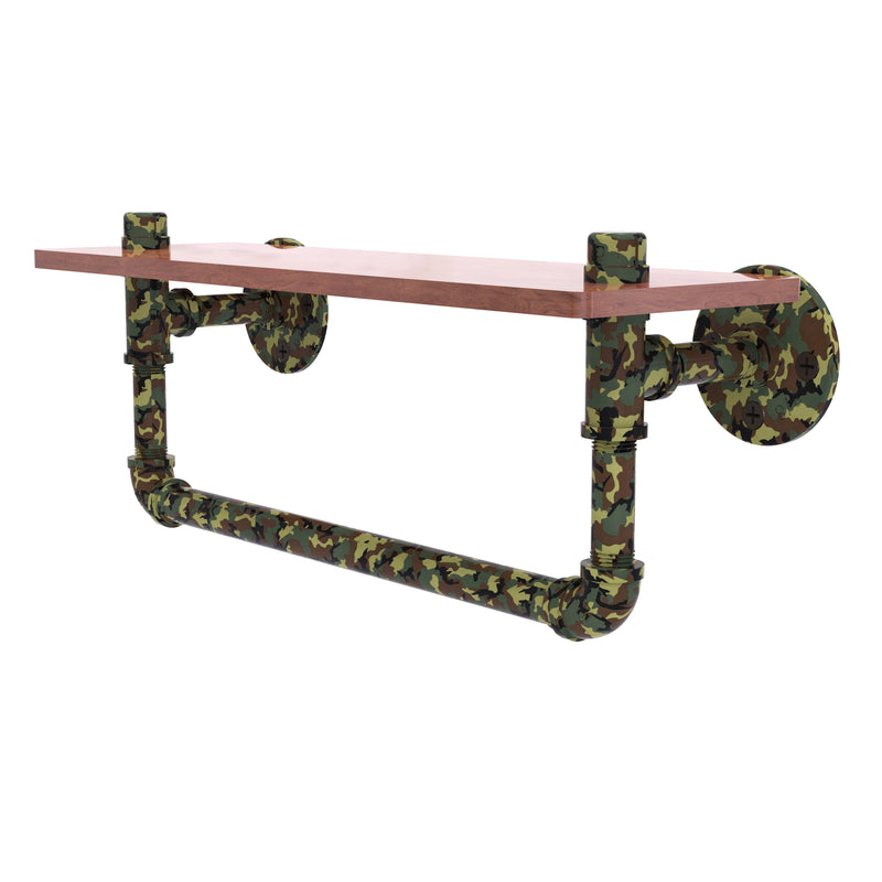 Camo Collection wood Shelf with Towel Bar