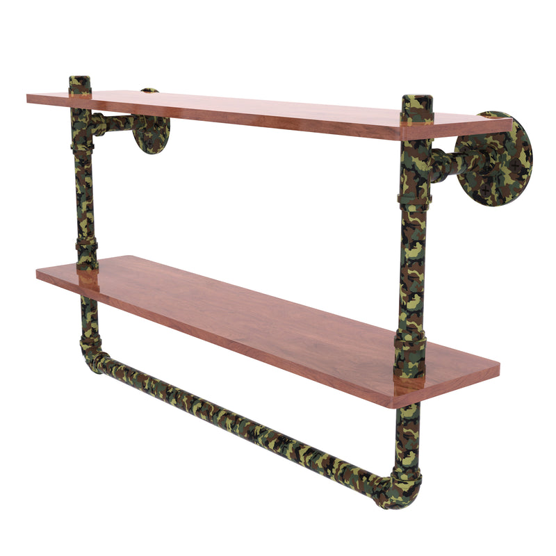 Camo Collection Double Wood Shelf with Towel Bar
