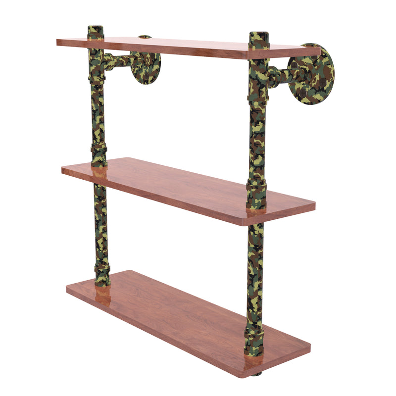 Camo Collection 16 Inch Wood Triple Shelf