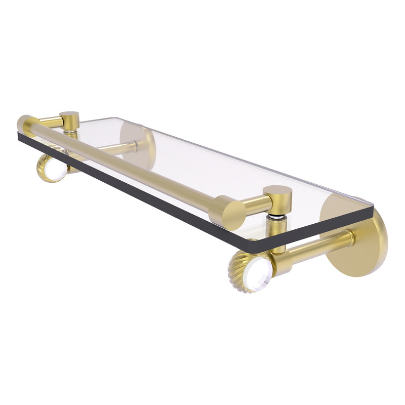 Clearview Collection Glass Shelf with Gallery Rail with Twisted Accents