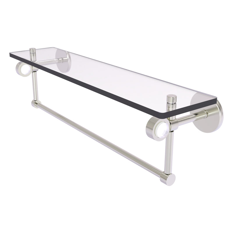 Clearview Collection Glass Shelf with Towel Bar with Smooth Accents