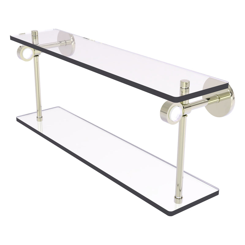 Clearview Collection Two Tiered Glass Shelf with Smooth Accents
